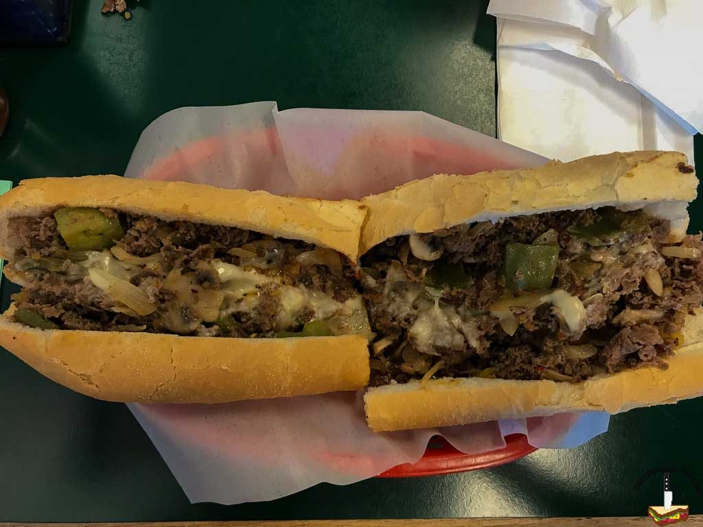 "John's Philly Grille large ""works"" cheesesteak"