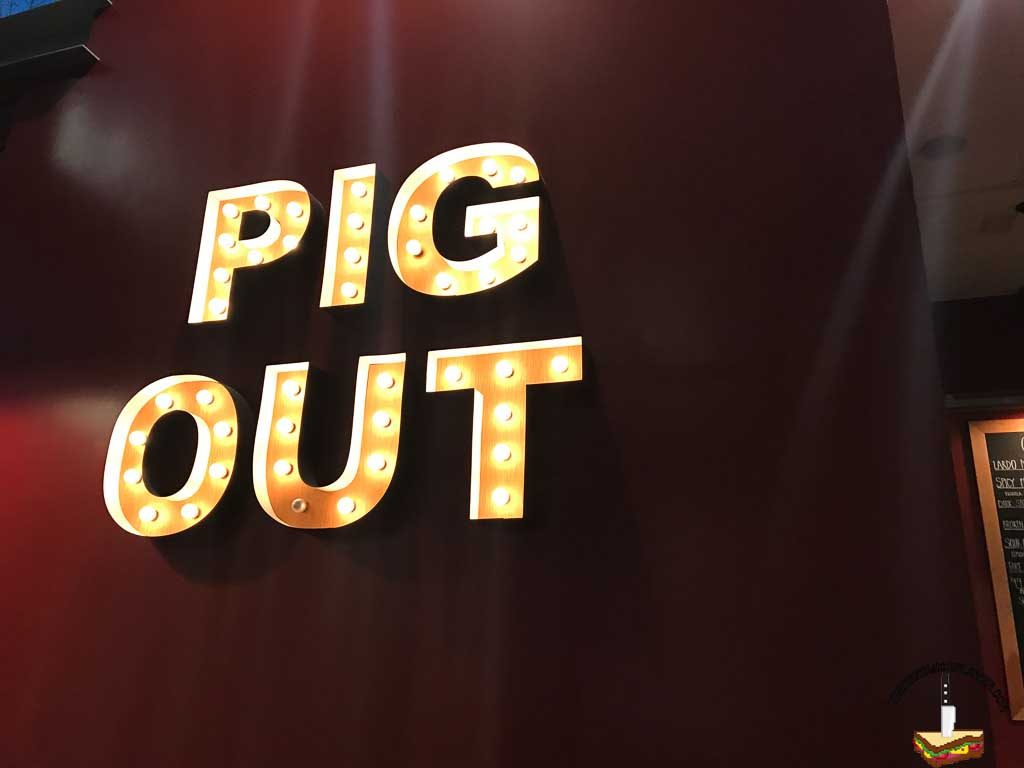 Pig out sign from Lardo in Portland