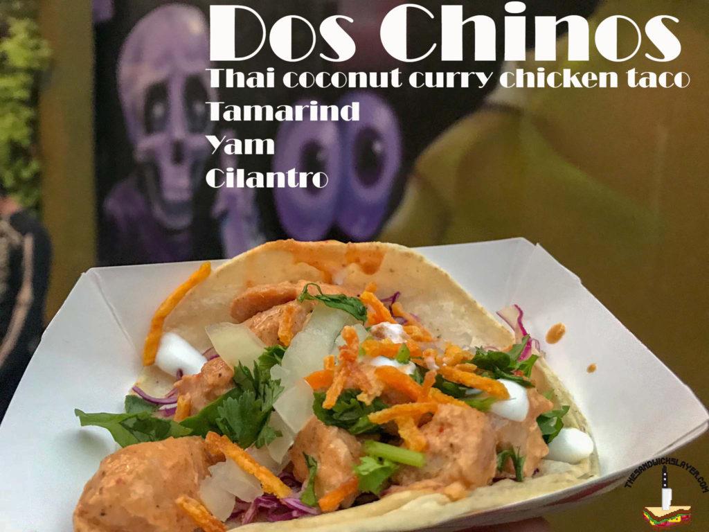 Savor Santa Ana, Dos Chinos thai chicken tacos