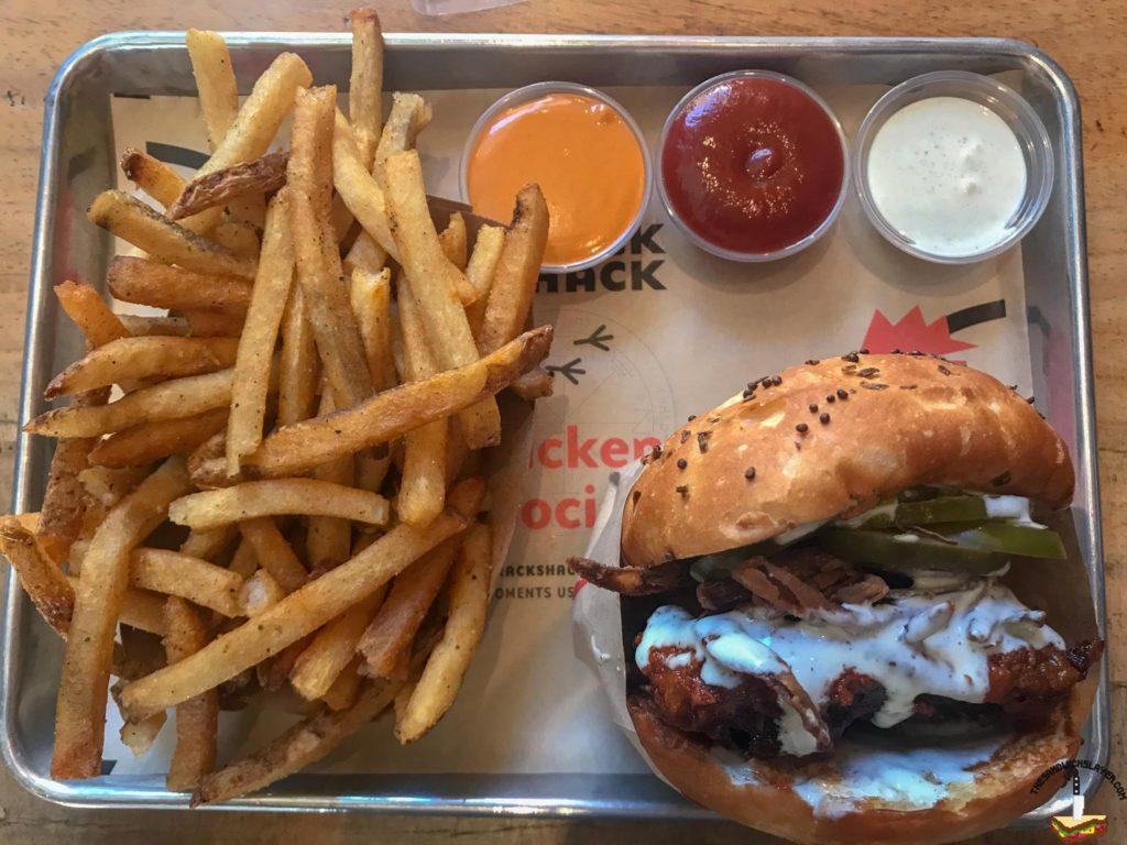 The Firebird sandwich with schmaltz fries from The Crack Shack